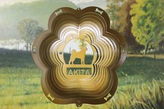 "12"" Akita Dog Breed Wind Spinner -Copper Starlight"