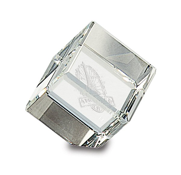 Clipped Corner Crystal Cube Paperweight