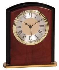 Mahogony Finish Square Arch Clock with Gold and Black Accents
