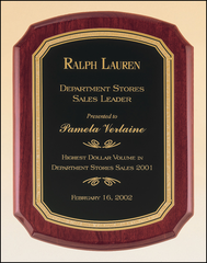 Rosewood Piano Finish Plaque with Black Brass Plate