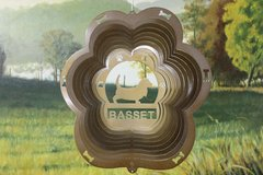 "12"" Basset Dog Breed Wind Spinner -Copper Starlight"