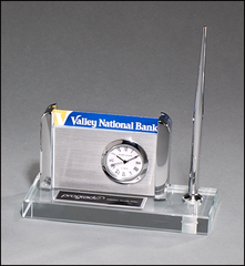 Clock, Pen, Business Card Holder on Clear Glass Base