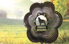 """12"""" Belgian Shepherd Dog Breed Wind Spinner -Black Starlight"""