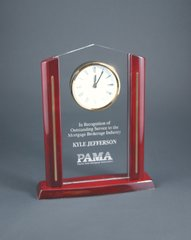 Rectangle Cathedral Acrylic Clock with Rosewood Piano Finish Base