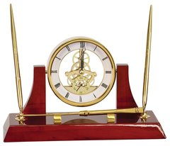 Executive Rosewood piano finish skeleton clock with 2 pens and letter opener