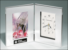 Polished Silver Aluminum Book Clock with Photo Frame