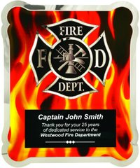 "10 1/2"" x 13"" Firefighter Hero Plaque with Vertical Flames"