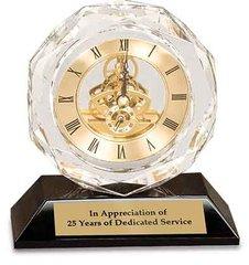 Crystal Clock on Black Base - Skeleton View