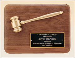 Walnut Plaque with Gold Gavel