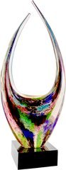 Dual Rising Multi Colored Art Glass with Black Base