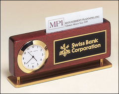 Business Card Holder Name Plate with Clock