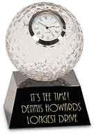 Golf Ball Crystal Clock on Black Glass Base