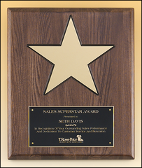 P4135 Gold star on Walnut Stained Piano Finish Plaque