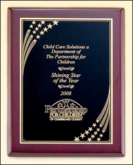 Rosewood Piano Finish Plaque with Star Accented Plate