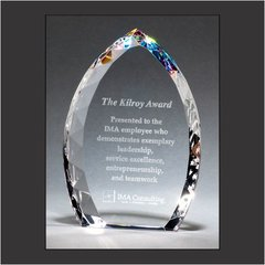 Freestanding Crystal Flame with Jeweled Edge and Prism-Effect Base
