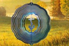 "12"" Anchor Wind Spinner - Teal/Blue Starlight"