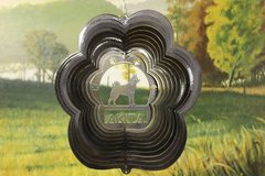 "12"" Akita Dog Breed Wind Spinner - Black Starlight"