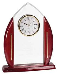 Cathedral Arch Acrylic Clock with Rosewood Piano Finish Base