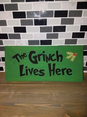 Christmas Grinch wood sign