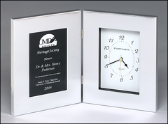 Polished Silver Aluminum Book Clock