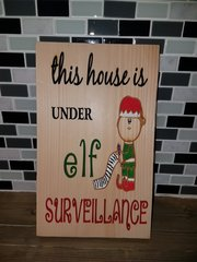 Elf Christmas wood sign