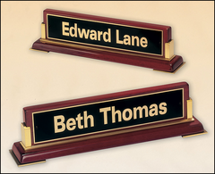 Rosewood Piano Finish Name Plate with Gold Accents