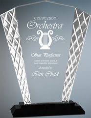 Fan Accent Glass Award with Black Base
