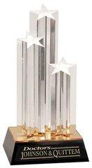 "11"" Gold Triple Star Column Acrylic"