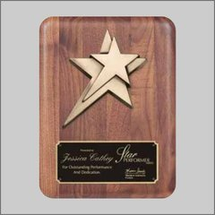 Real wood plaque with cast metal star
