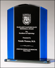 Budget Clear Glass with Blue and Black Silk Screened Award