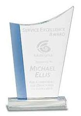 Crystal Wave Award with Blue Accent