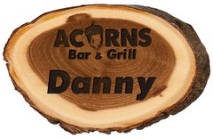 2 x 3 Genuine Wood Log name badge