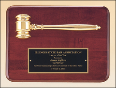 Rosewood Piano Finish Plaque with Gold Gavel