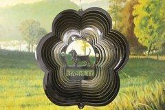"""12"""" Basset Dog Breed Wind Spinner -Black Starlight"""
