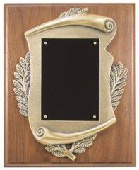 Genuine walnut plaque with metal scroll casting