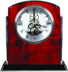 Rosewood Silver Piano Finish Arch Clock