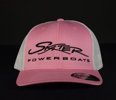 Pink and White Fitted Flexfit Trucker Hat