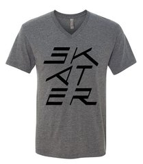 Grey V-Neck Stacked New Logo T-Shirt