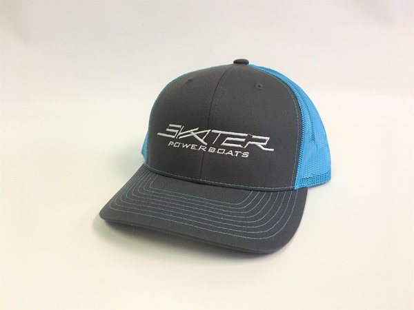 Charcoal and Neon Blue Trucker Hat
