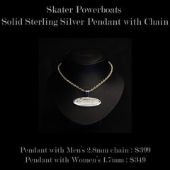 Skater Powerboats Sterling Silver Necklace and Pendant