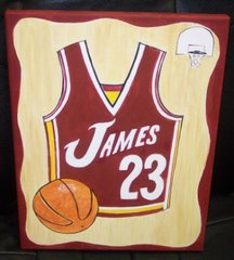 "BASKETBALL PAINTING BY TIRK-11""X14"" - PERSONALIZED ORIGINAL"