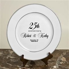 ANNIVERSARY PLATE WITH SILVER TRIM & BLACK PRINTING