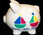 PERSONALIZED BOAT SMALL PIGGY BANK-HAND PAINTED