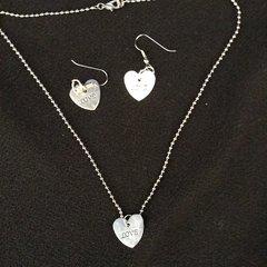 Silver Plated Shiny Flat Heart Shape Dangle Necklace & Earring Set