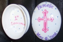 HAND PAINTED OVAL COMMUNION BOX - PERSONALIZED