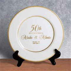 24 KT GOLD RIMMED PERSONALIZED ANNIVERSARY PORCELAIN PLATE