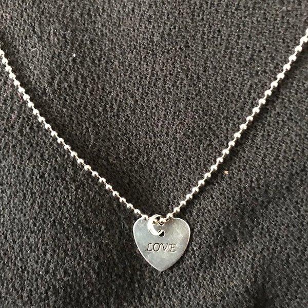 Silver plated shiny flat heart shape dangle necklace silver plated shiny flat heart shape dangle necklace aloadofball Choice Image