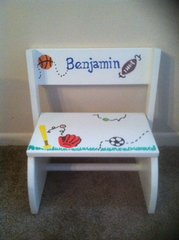Sports White Step Stool- Personalized