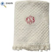 EMBROIDERED -MONOGRAMMED OR NAME WHITE COTTON WOVEN CRIB AFGHAN-GIRL