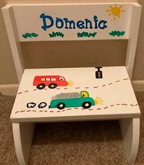 PERSONALIZED TRUCKS MOTIF STEP STOOL